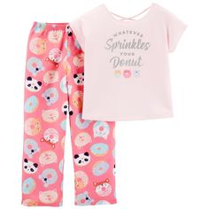 Send her to sleep in the sweet style of these girls' Carter's pajamas. Little Girl Outfits, Toddler Outfits, Kids Outfits, Baby Girl Pajamas, Cute Pajamas, Summer Pajamas, Pijama Satin, Night Suit, Night Wear