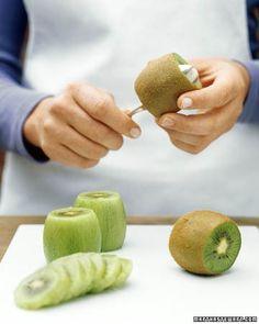 Quick Peel Kiwi Cut off ends, slide spoon between peel and fruit, turn kiwi while pressing spoon against skin.