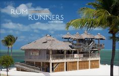 """FLORIDA KEYS:  Rum Runners Island Bar, Mile Marker 84, Islamorada, Florida; on the north-bound side of the Overseas Highway. This is in """"Holiday Isle,"""" waaaay in the back, away from all the people, ON the water. Do stop here for 10 minutes on your way down, or on your way back up. GO UP to the crow's nests. Bring your camera. Relax a while."""