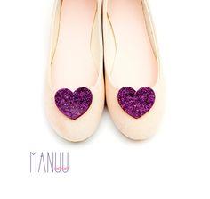 Purple glittery hearts - shoe clips Manuu, purple brocaded hearts, dark violet hearts