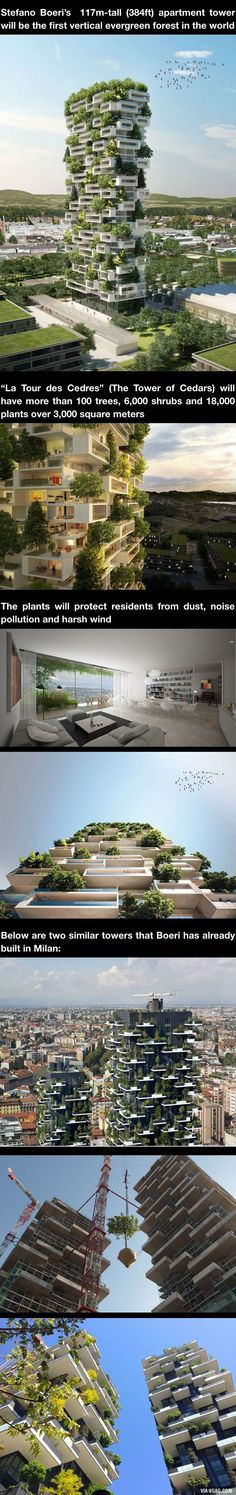 384ft-Tall Apartment Tower To Be World's First Building Covered In Evergreen Trees - 9GAG