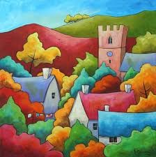 Cross stitch modern art by Gillian Mowbray 'A Good Drying Day' cross stitch kit - Christmas Gift by GeckoRouge on Etsy Silk Painting, Painting & Drawing, Illustration Art, Illustrations, Art Populaire, Naive Art, Whimsical Art, Landscape Art, Kitsch