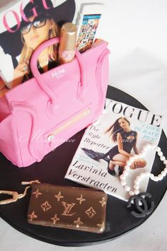 Personalized Fashion Cake - Celine Luggage Tote Cake wit edible Louis Vuitton keychain, YSL lipstick, Chanel pearl necklace and personalized Iphone5 and Vogue covers.    Everything on the cake is edable!!