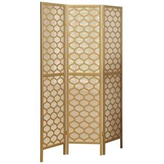 Monarch Honeycomb 3-Panel Screen Room Divider, Gold (335 CAD) ❤ liked on Polyvore featuring home, home decor, panel screens, gold, folding room dividers, honeycomb screen, gold home decor, folding screen and gold home accessories