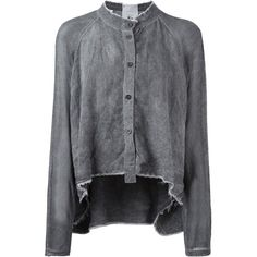 Lost And Found Rooms Loose Fit Band Collar Shirt (£220) ❤ liked on Polyvore featuring tops, grey, crop shirts, crop top, long sleeve shirts, loose tops and grey long sleeve shirt