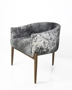 Art Deco Dining Chair in Salt and Pepper Cowhide