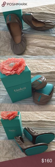 Tieks by Gavrielli - Taupe - Size 8 Beautiful soft leather and comfortable sole. Excellent Used Condition. Only worn a couple of times. Minor imperfection is a tiny scratch on the back heel of one of the shoes. Tieks Shoes Flats & Loafers