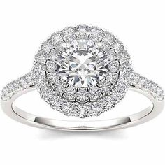 Imperial 1 Carat T.W. Diamond Double Halo 14kt White Gold Engagement Ring - Walmart.com