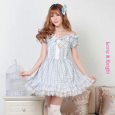 Sweet Desser Print Blue Off the Shoulder Ruffle Short Sleeves Lolita Girl Party Dress