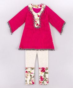 Love this Fuchsia & Cream Floral Tunic & Leggings - Toddler & Girls on #zulily! #zulilyfinds