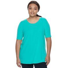 Juniors' Plus Size SO® Elbow Sleeve Tunic Tee, Teens, Size: 1XL, Turquoise/Blue (Turq/Aqua)