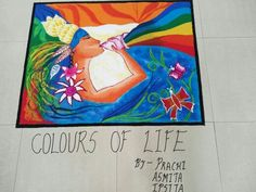 Rangoli of colours of life Color Of Life, Colours, Space, Creative, Home Decor, Floor Space, Decoration Home, Room Decor, Interior Decorating