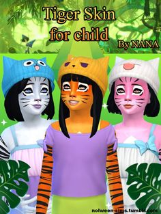 Tiger skin for kids 3 colors by NANA at Nolween via Sims 4 Updates