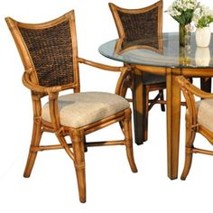 Beachwood Dining Armchair features woven banana leaf and rattan framing. Clear Dining Chairs, Wicker Dining Set, Round Dining Set, Square Dining Tables, Dining Arm Chair, Side Chairs, Plasma Tv Stands, King Headboard, Rattan