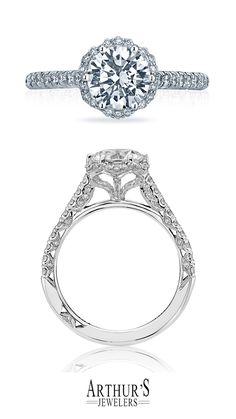 A big diamond look for the Tacori Girl who knows what she wants. A round center diamond blooms with a heart-shaped gallery that provides more windows of light to make your diamond sparkle. Tacori Petite Crescent Style # HT2547RD7