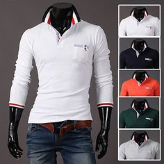 Fashion Men Long Sleeve Slim Fit Polo Tee . Shop Now At http://sneakoutfitters.com/collections/new-in/products/fashion-men-long-sleeve-slim-fit-polo-tee