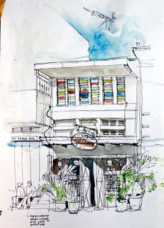 Sketchwalk in Bandung, by some local sketch artists. Sketch and photo by M. Cool Sketches, Drawing Sketches, Drawings, Pen And Wash, Little Doodles, Urban Sketchers, Anime Scenery, Watercolor Art, Travel Journals