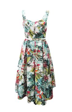 Chesca Floral Print Sateen Belted Dress