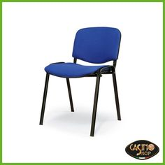 ART.0066 Sedia con seduta e schienale imbottito  Versatile e giovane, sedia con seduta e schienale imbottito, disponibile nel colore blu. La forma anatomica è studiata per dare comodità e offre maneggevolezza e impilabilità. Dimensioni: L 57 x P 54x H46/80 cm