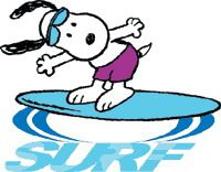 """Surfing Snoop...so fun! Pup lovers are now enjoying """"Left Right Pup"""" our iPad puppy that helps children learn their left and right sense of direction. We at Mrs. Judd's Games love this Snoopy post. Thanks for sharing it!"""