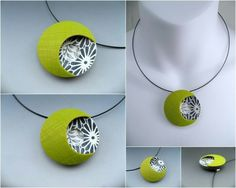 Stonehouse Studio Polymer Clay Necklace, Polymer Clay Pendant, Fimo Clay, Polymer Clay Projects, Polymer Clay Creations, Polymer Clay Art, Clay Earrings, Clay Crafts, Metal Clay Jewelry