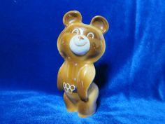 VINTAGE Porcelain Figurine Soviet  ukrainian bear olimpic  1980 ussr