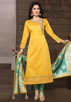 Buy Yellow Chanderi Readymade Churidar Salwar Kameez 175696 online at lowest price from huge collection of salwar kameez at Indianclothstore.com. Salwar Neck Patterns, Salwar Pattern, Churidar Neck Designs, Kurta Neck Design, Dress Patterns, Salwar Dress, Churidar Suits, Salwar Kameez, Churidhar Designs