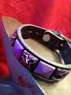 Purple Studded Leather Cuff