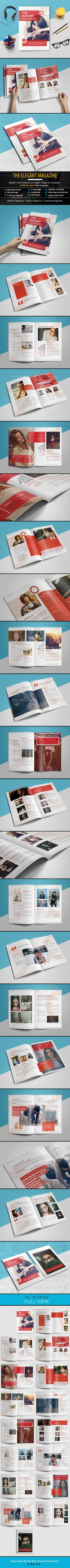 The Elegant Magazine Template InDesign INDD - 32 Pages, A4 Size & US Letter