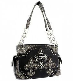 Black Western Style Triple Fleur De Lis Conceal and Carry Purse