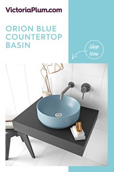 Featuring a gorgeous blue glaze, this contemporary countertop design from Mode Bathrooms will make a striking addition to your space. Countertop Basin, Countertops, Wall Mounted Basins, Basin Taps, Bathroom Goals, Bathroom Basin, Round Design, Basin Mixer, Vanity Units
