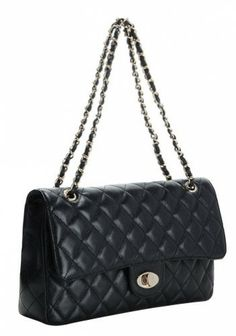 hint to the hubby!! Adele Flap Bag Cowhide Leather Caviar Black