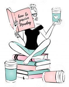 Young nerd woman reading a book and drinking coffee - Illustration price | Minty