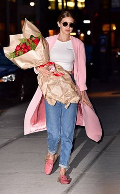 Gigi Hadid from The Big Picture: Today's Hot Photos  The birthday girlis seen carrying a large bouquet of roses while out and about in New York.