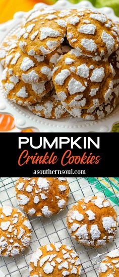 Pumpkin Crinkle Cookies are light, soft, and full of all your favorite fall flavors! These cookies are made with real pumpkin, pumpkin spice, and topped with sweet powdered sugar, to make a pretty treat that's perfect served with coffee, tea, or warm mulled cider.