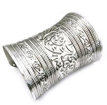 De plata tibetana del brazalete bohemio grande Vintage Bracelet & Bangles mujeres brazalete brazalete y pulsera de Metal Retro de la joyería del partido(China (Mainland))