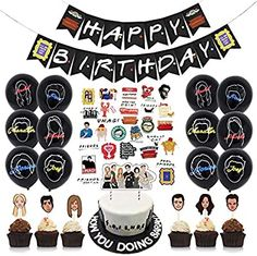 Adult Party Decorations, Birthday Decorations, Birthday Party Themes, Backdrop Decorations, Birthday Balloons, Tv: Friends, Friends Cake, Balloon Cake, Backdrops For Parties