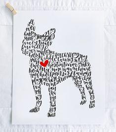 Boston Terrier Illustration Print by ManayunkCalligraphy on Etsy