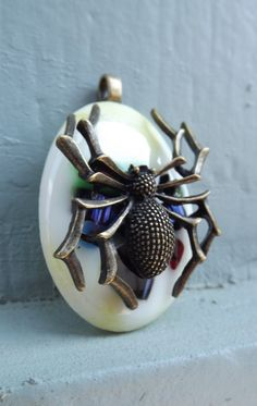 Spider pendant fused glass by PiecesofhomeMosaics on Etsy, $22.00