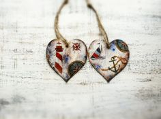Set of 2 heart ornaments sea nautical off by HandyHappyHearts, $21.00