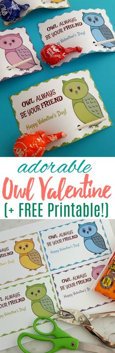 Grab the FREE printable for these Owl Valentines -- they are so easy to put together and perfect to pass out for a Valentine's party! #printable #printablevalentine #ValentinesDay