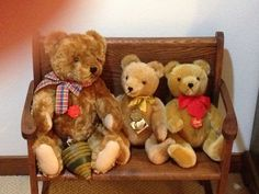 Three German Herman bears. Middle one is older, from 80s, and is musical.