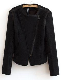 Black Long Sleeve Zipper Contrast PU Leather Jacket EUR€29.34