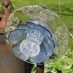 Upcycled Glass Flower Garden Sculpture Clear by GardensAndCrafts, $22.00