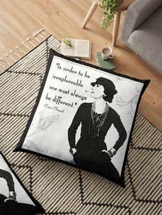 #BeDifferent #CocoChanelQuote #ChanelHomeAccessory  Coco Chanel Pillow Posh Pillow Cover Fashion Quote Pillow