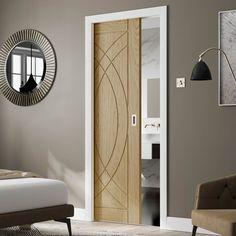 Single Sliding Door Wall Track - Salerno Oak Door - Clear Glass - Un Double Sliding Doors, Sliding Wardrobe Doors, Sliding Glass Door, Oak Doors, Panel Doors, Internal Folding Doors, Primed Doors, Room Divider Doors, Door Fittings