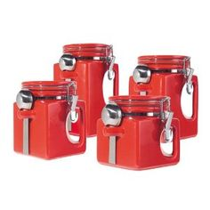 Superbe The Oggi EZ Grip Handle 4 Piece Red Ceramic Airtight Canister Set Will  Certainly Brighten