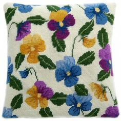 A needlepoint herb pillow kit called Pansy Garden by Cleopatra's Needle of Scotland. The design is color-printed onto 12 mesh needlepoint canvas comes with Appletons tapestry wool. Needlepoint Pillows, Needlepoint Patterns, Needlepoint Canvases, Cross Stitch Kits, Cross Stitch Designs, Cross Stitch Patterns, Cross Stitch Cushion, Tapestry Kits, Lavender Sachets