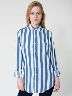 Striped Denim Long Sleeve Button Up Shirt. #AmericanApparel