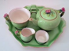 Royal Winton Rosebud Breakfast Set in Paris green1940's-50 <3 for my Afternoon cup of Tazo rose tea, with a good book all snuggled up, is a bit of heaven.